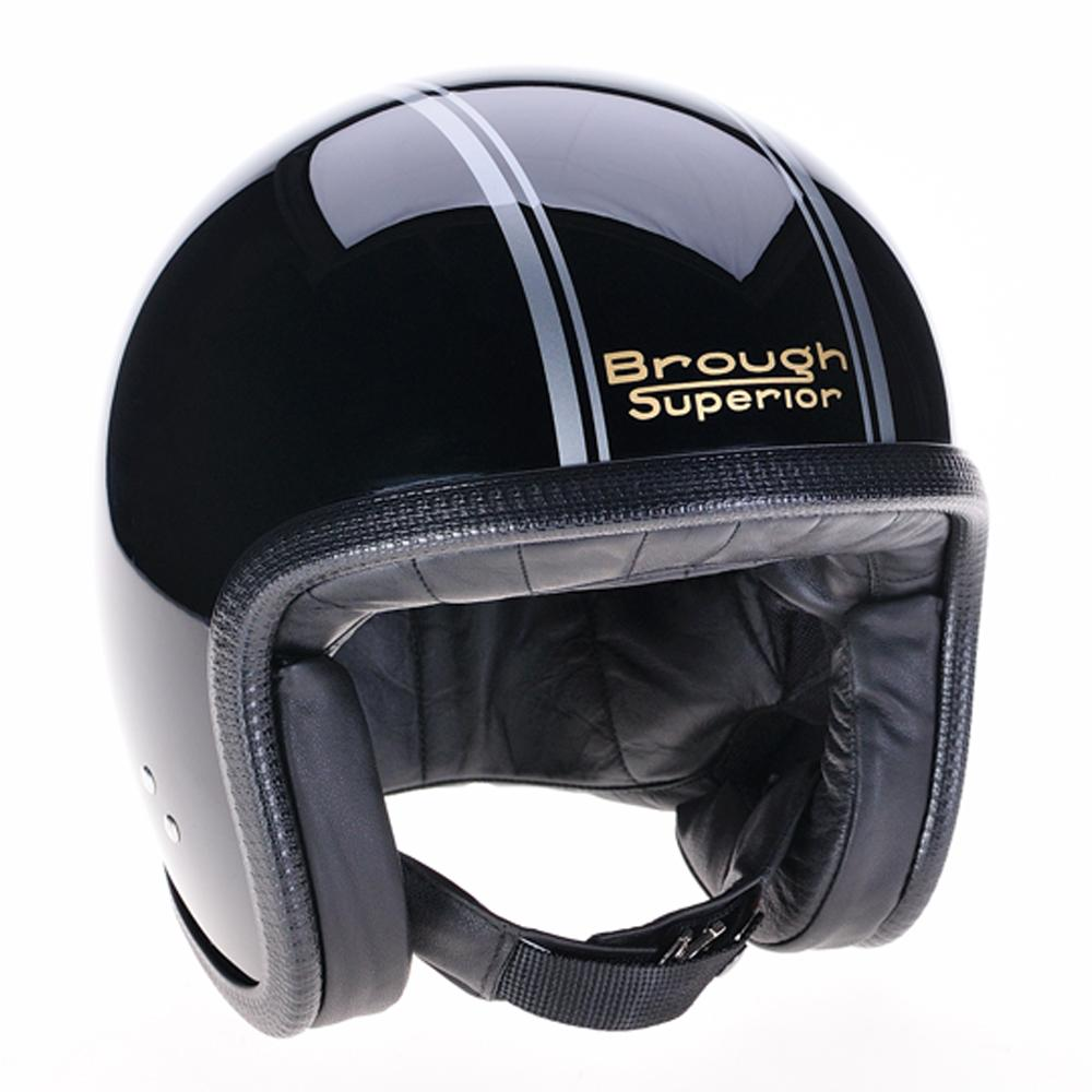 Brough Superior Black Silver PS Gold Davida Speedsterv3 Helmet 93003