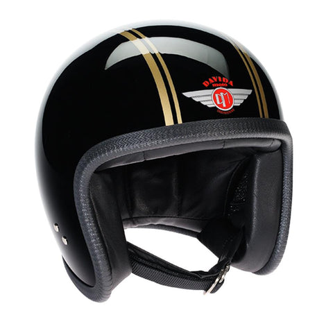 93228 - Black Gold PS Davida Speedsterv3 Helmet - Davida Motorcycle helmets - 1