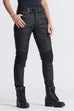 PANDO - KUSARI BLACK – SKINNY-FIT, WAXED MOTORCYCLE JEANS for Ladies