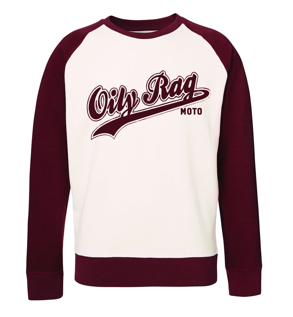 Oily Rag Clothing ladies baseball inspired Moto sweat top