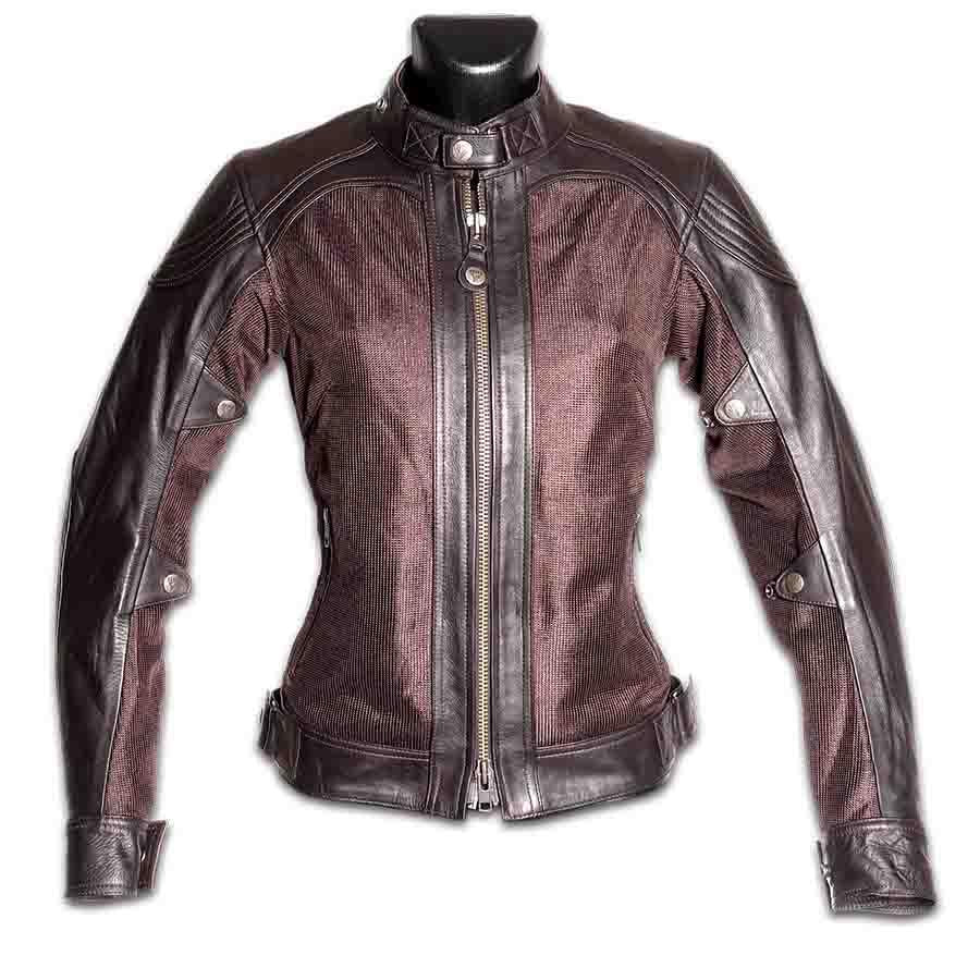 By City Ladies Sahara Leather Mesh Leather Motorcycle Jacket