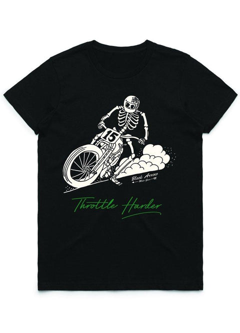 Black Arrow Throttle Harder Ladies Motorcycle T'Shirt