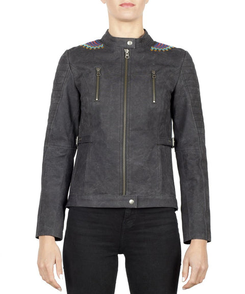 Black Arrow Urban Tribe Ladies Waxed Cotton Motorcycle Jacket