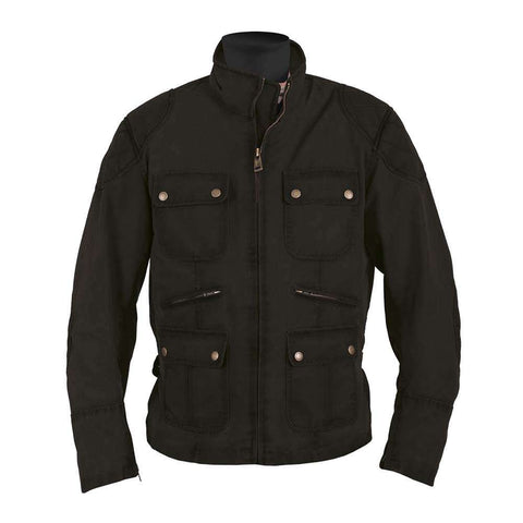 Helstons HUNT Waxed Cotton Motorcycle Jacket - BLACK