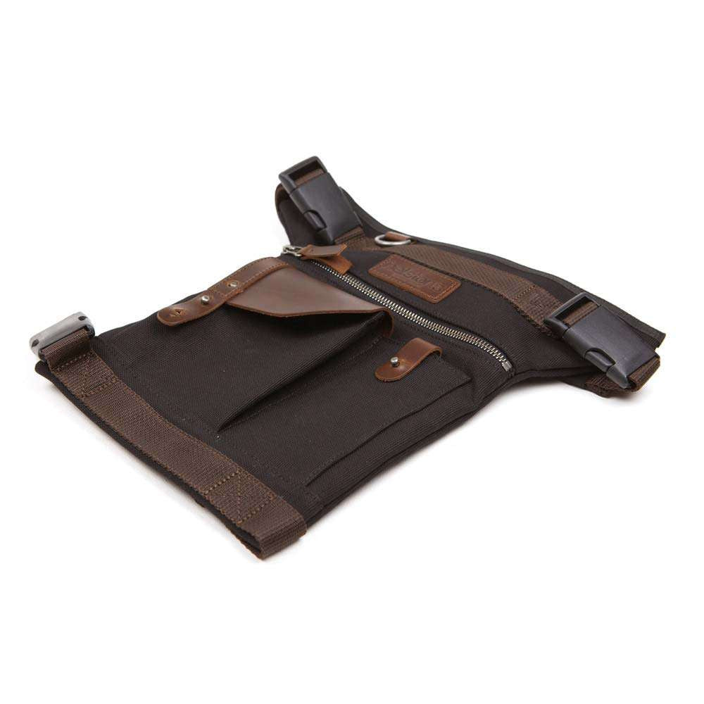 Helstons LEG bag - Black Canvas/Brown Leather