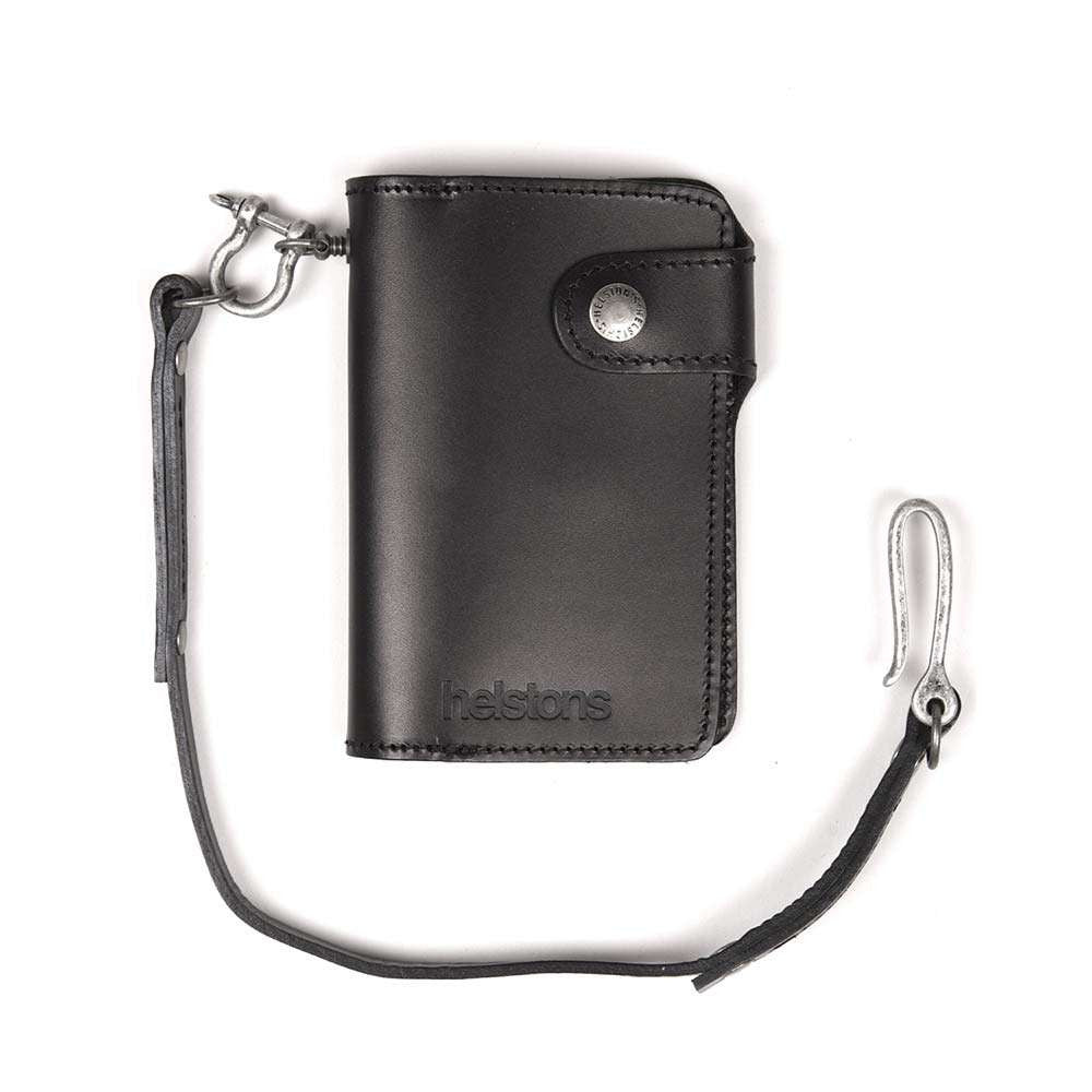 Helstons MOON leather wallet with Lanyard - Black