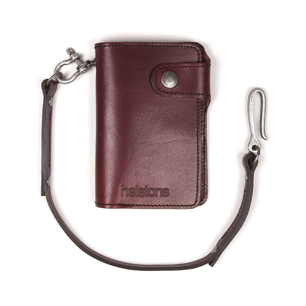 Helstons MOON leather wallet with Lanyard - Bordeaux