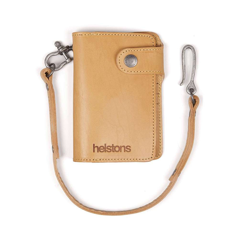Helstons MOON leather wallet with Lanyard - Natural