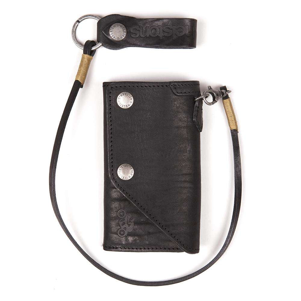 Helstons OLD leather wallet with Lanyard - Black