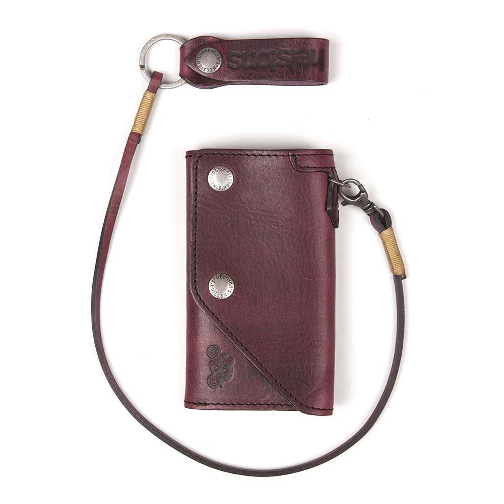 Helstons OLD leather wallet with Lanyard - Bordeaux