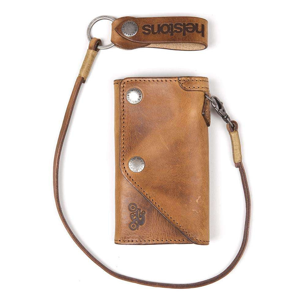 Helstons OLD leather wallet with Lanyard - Brown