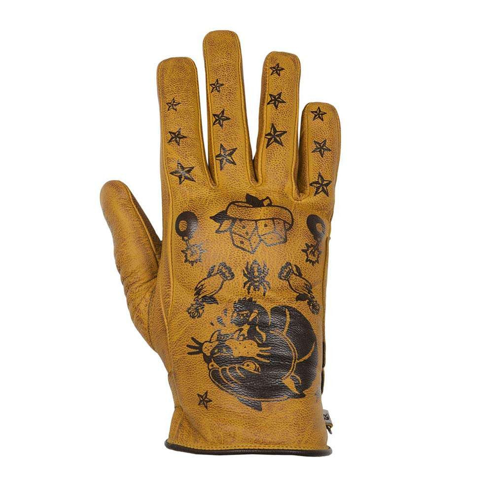 Helstons PANTHER Ladies Leather Motorcycle Glove - Gold