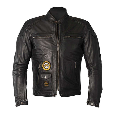 Helstons TRACKER Rag Black Leather Motorcycle Jacket