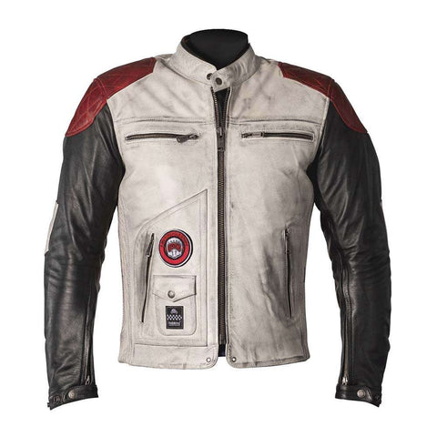 Helstons TRACKER Rag White Black Red Leather Motorcycle Jacket