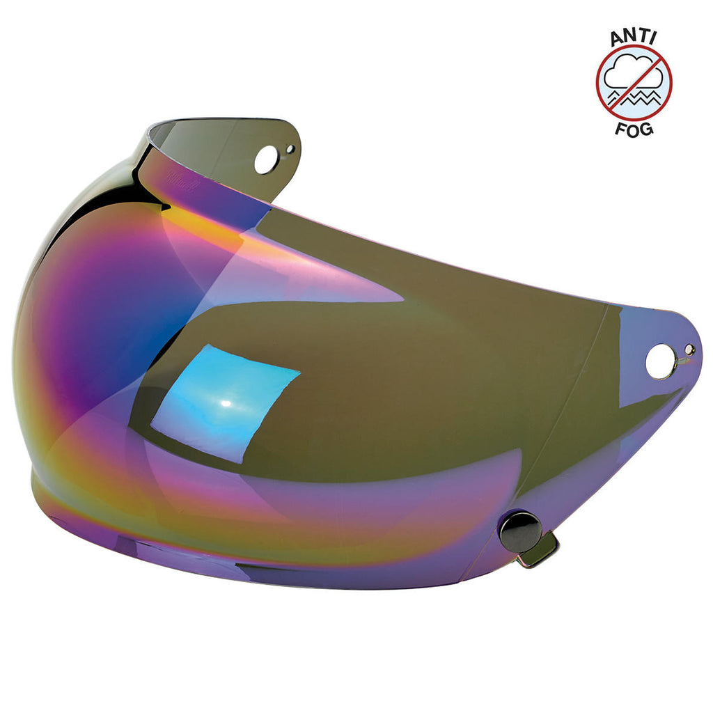 Biltwell Gringo S Bubble Visor - Rainbow Mirror - Anti Fog