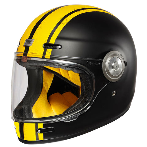 Origine Vega Motorcycle Helmet - Custom Matt Black/Yellow