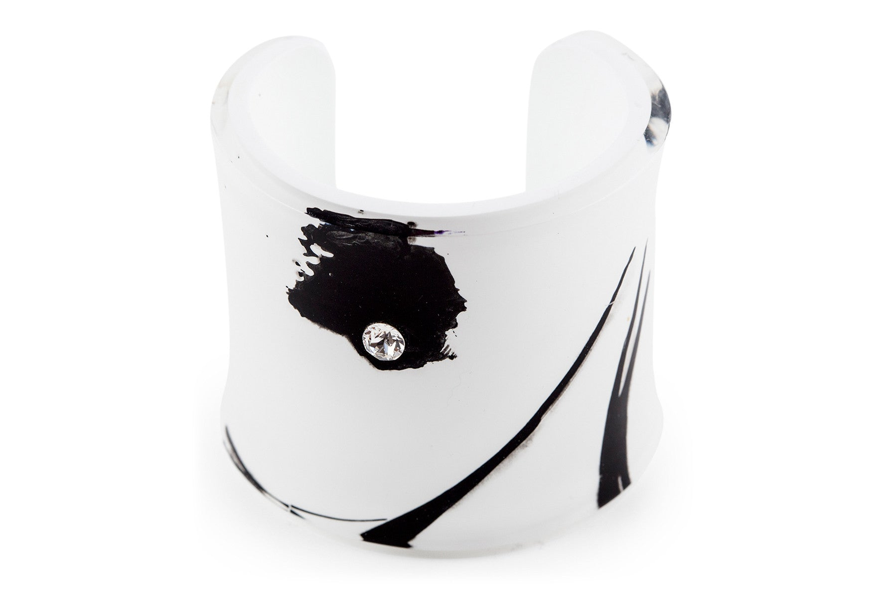 Cuff Mademoiselle (single stone) - Black and White/ Manchette Mademoiselle