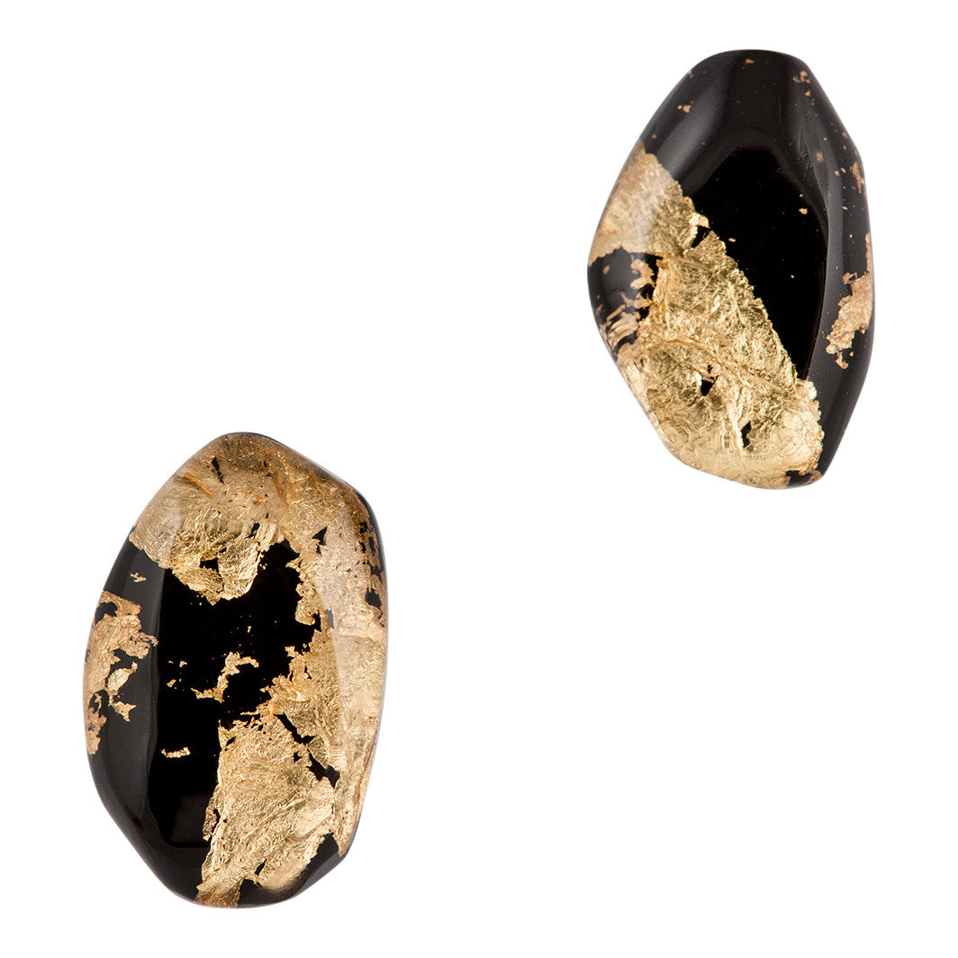Stone Earrings - Noir Chic / boucles cailloux