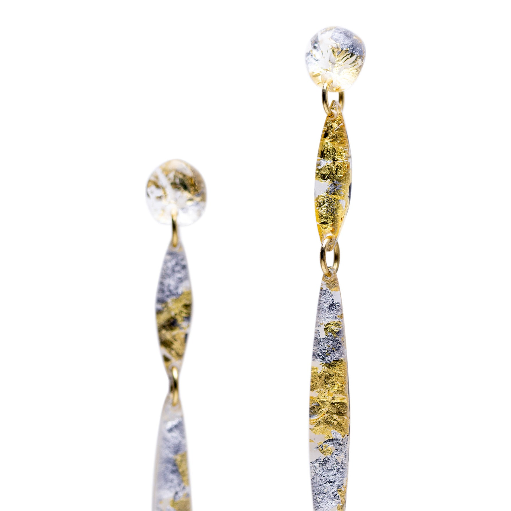 Reem's Dangling Earrings - Silver and Gold/ les boucles de Reem