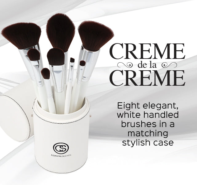 Creme de la Creme Brush Set. Eight elegant white handled brushes in a matching stylish case.