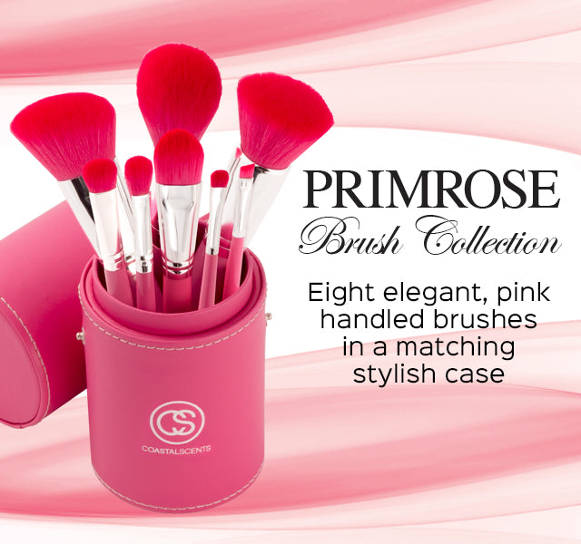 Primrose Brush Set. Eight elegant pink handled brushes in a matching stylish case.