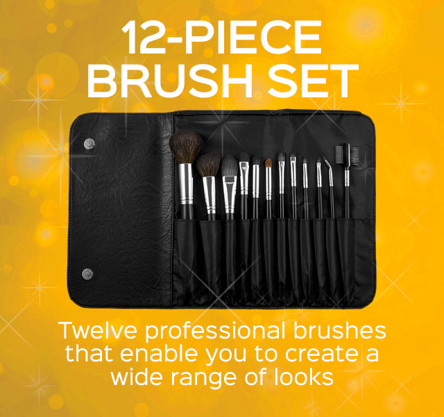 12-Piece Makeup Brush Set- Twelve professional brushes that enable you to create a wide range of looks