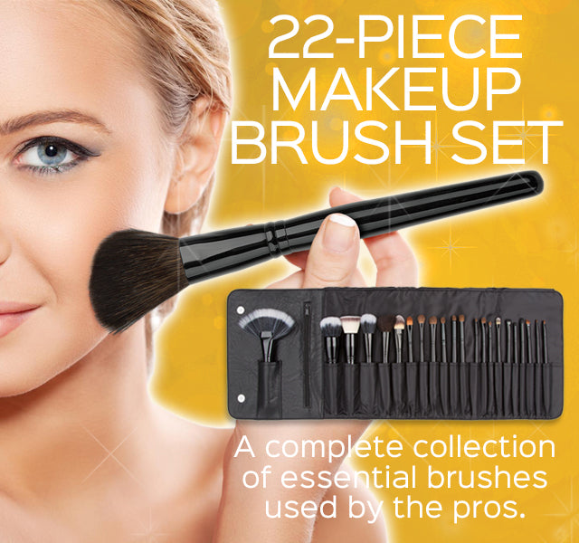 22-Piece Makeup Brush Set - A complete collection of essential brushes used by the pros.