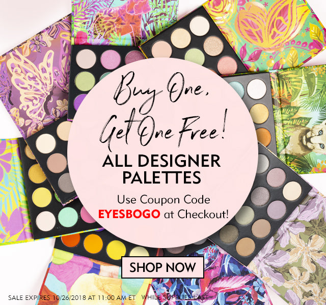 Buy One, Get One Free! ALL DESIGNER PALETTES. Choose from Jungle Roar, Jardin Bloom, Creative Me, Painted Lady, Summer Breeze, Charlie Girl, Joli Colibri, Fairy Fuchsia, or Safari Dreams