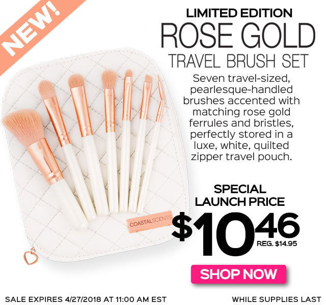 NEW! Limited Edition Rose Gold Travel Brush Set. Special Launch Price 3 Days Only!