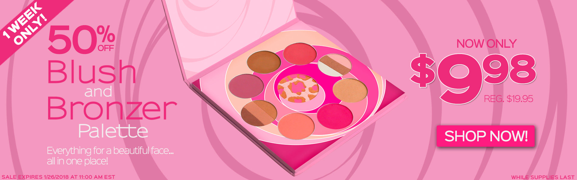50% Off Blush and Bronzer Palette. Now Only $9.98, Reg. $19.95