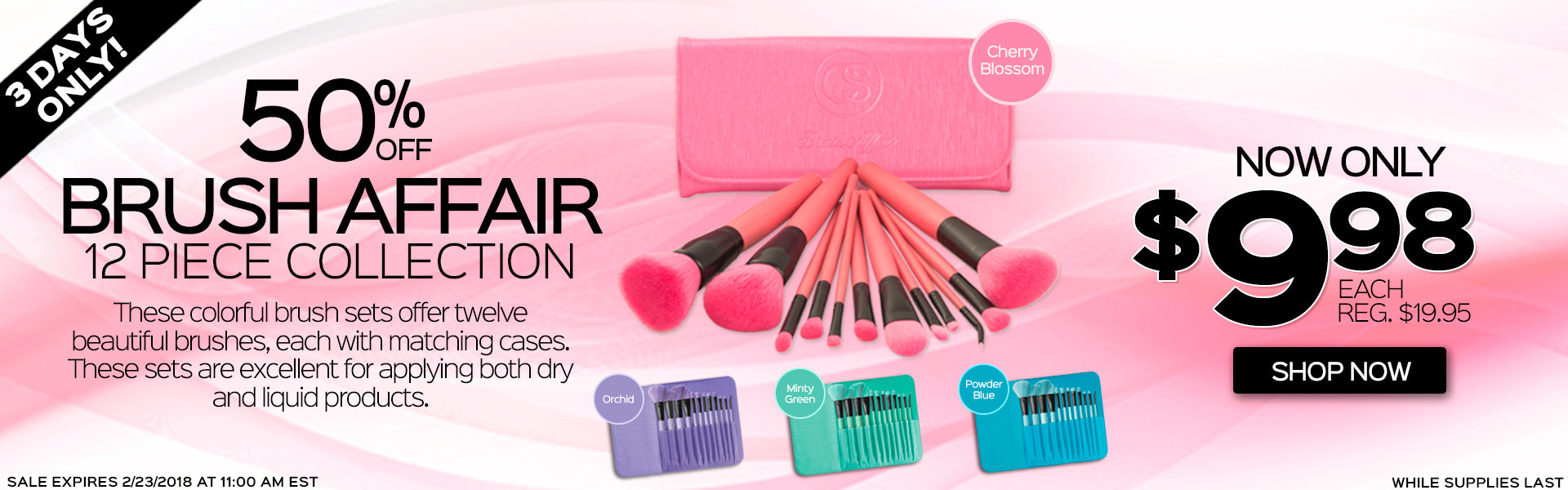50% Off Brush Affair 12 Piece Collection. Now Only $9.98 each, Reg. $19.95