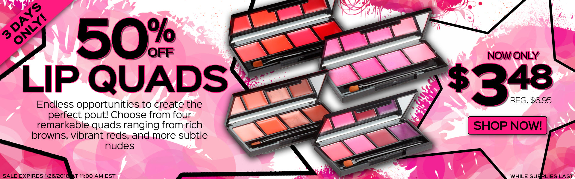 Lip Quads Now Only $3.48 each, Reg. $6.95