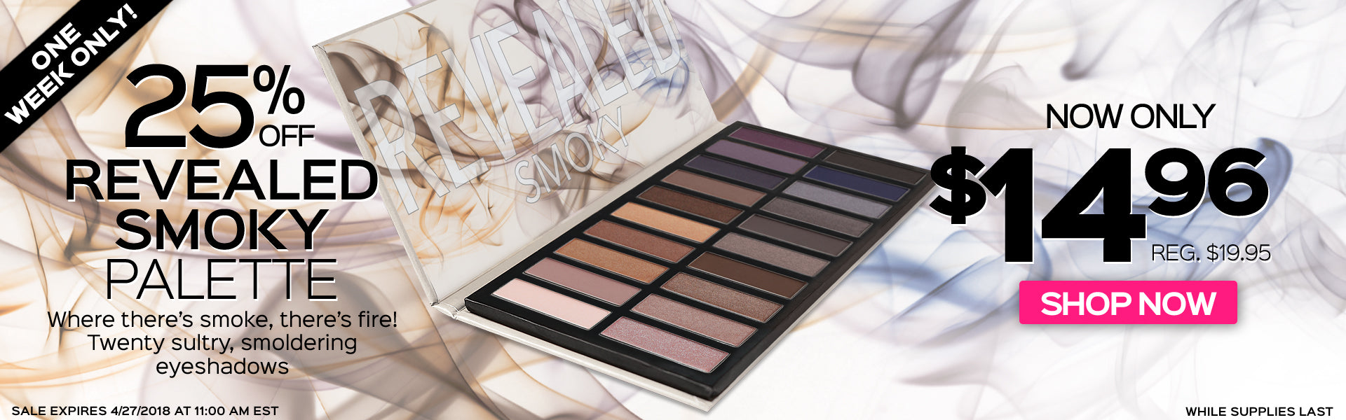 25% Off Revealed Smoky Eyeshadow Palette! Now Only $14.96