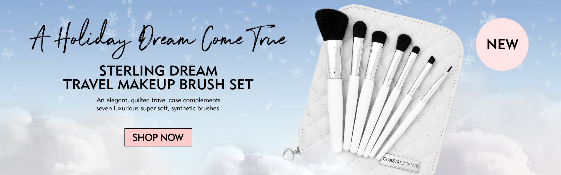 Sterling Dream Travel Makeup Brush Set- An elegant quilted travel case complements seven luxurious super soft synthetic brushes.