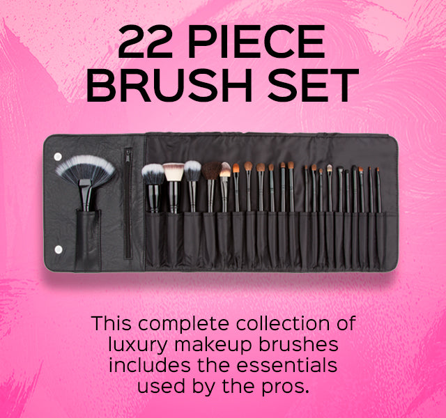 22 Piece Brush Set. This complete collection of luxury makeup brushes includes the essentials used by the pros.