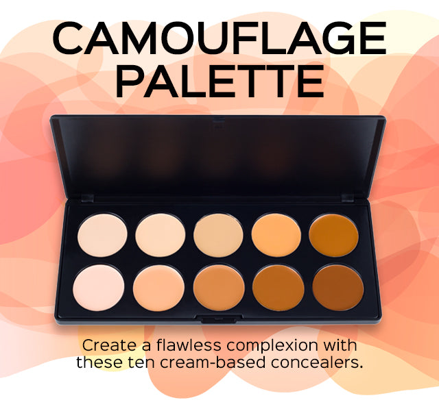 Camouflage Concealer Palette. Create a flawless complexion with these ten cream-based concealers.