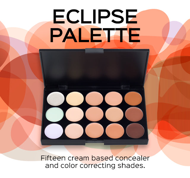 Eclipse Concealer Palette. Fifteen cream based concealer and color correcting shades.