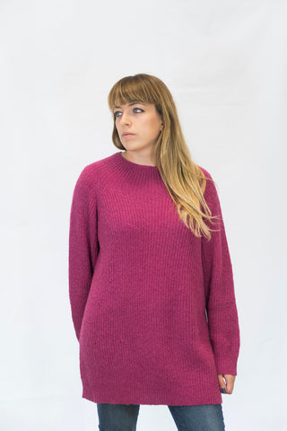 Alpaka Strickpullover Simple - pink