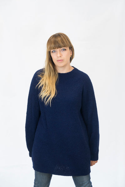 Alpaka Strickpullover Simple - blau