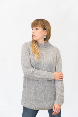 Alpaka Strickpullover Simple - grau