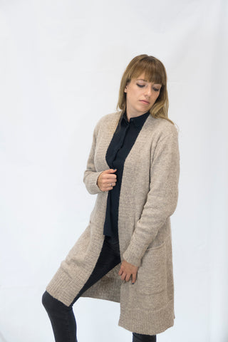 Alpaka Strickjacke Cardigan Simple - beige