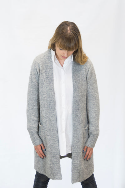 Alpaka Strickjacke Cardigan Simple - grau