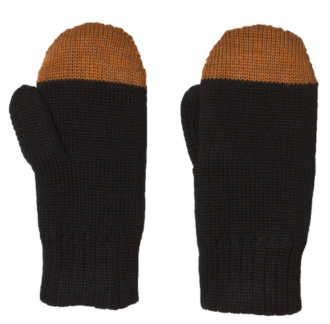 Black and brown mittens by kids brand Alexandalexa