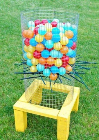 Childrens Party Games - balloon jenga for garden summer parties on Little Hotdog Watson blog
