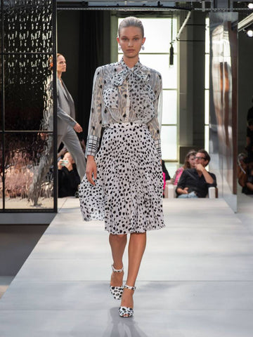 Model on catwalk wearing Burberry Spring Summer 19 collection