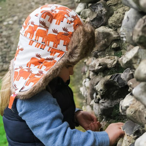 Child wearing Little Hotdog Watson Moose Print Hat
