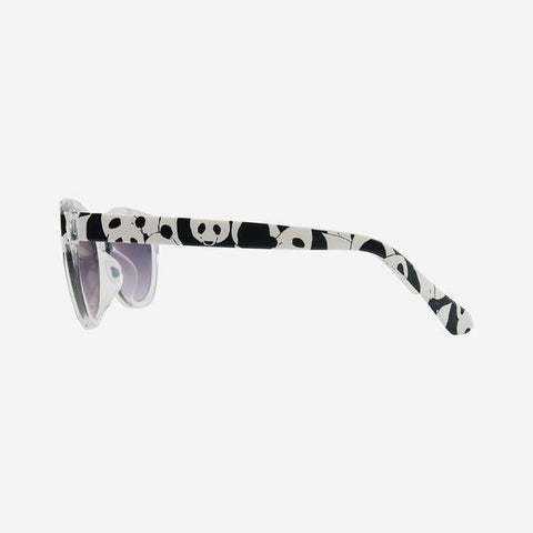 Product shot of sunglasses arm printed with monochrome panda pattern as featured on little hotdog watson blog