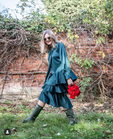 Emma Paton blogger for Finlay Fox wearing green dress