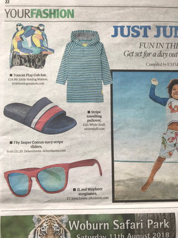 Little Hotdog Watson Cub hat in print Toucan Play was featured in Norwich Extra