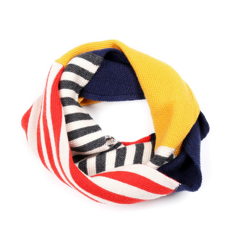 Navy, yellow white and red snood by kids brand Knit Planet